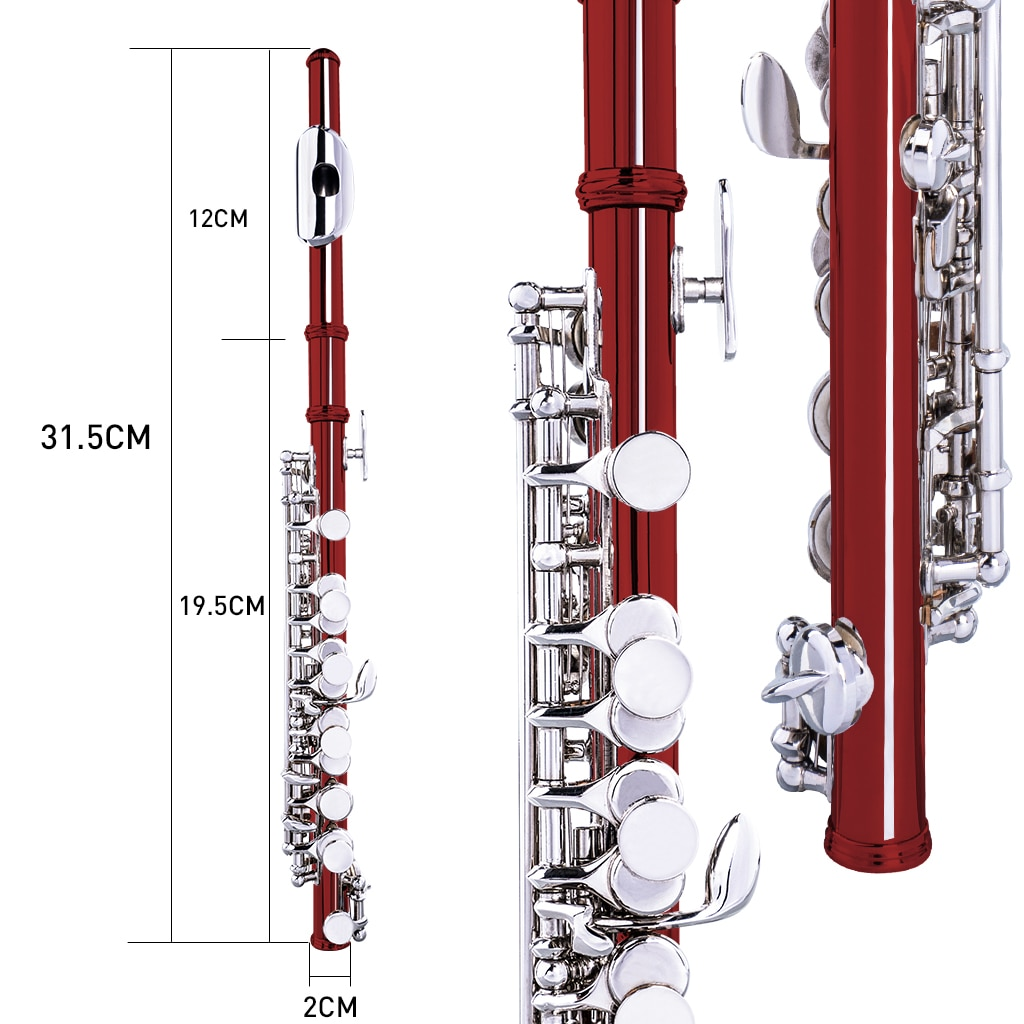 NAOMI Excellent Nickel Plated C Key Piccolo Red Color W/ Case Cleaning Rod And Cloth And Gloves Cupronickel Piccolo Set enlarge