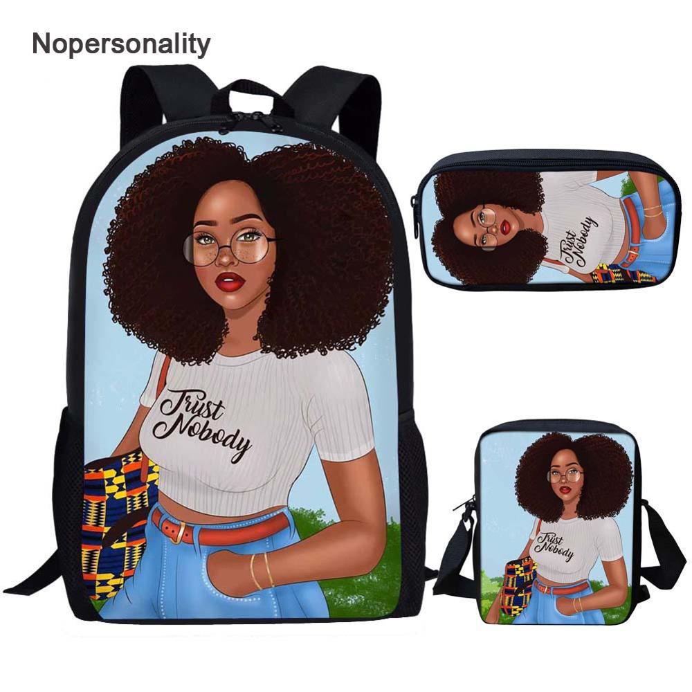 Nopersonality 3 piezas Juego de bolsas de estudiante único negro reina africana americana mochilas Afro Girl Magic Bookbags para niños