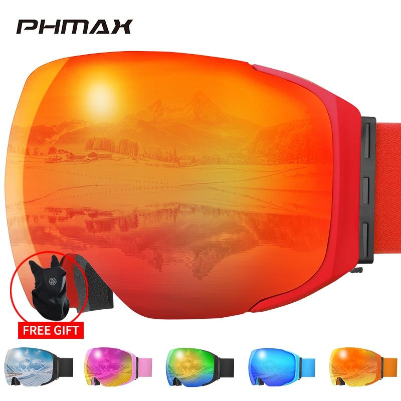 PHMAX تزلج نظارات المغناطيسي الرجال الشتاء مكافحة الضباب نظارات التزلج مع قناع للتزلج الكبار طبقات مزدوجة UV400 على الجليد نظارات حماية