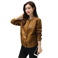 women red fake leather jacket black 2021 new spring autumn korean version plus size loose casual short top pu leather coat gh231