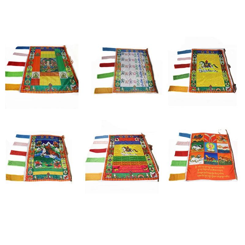 Счастливый тибетский буддийский Шелковый баннер, настенный молитвенный флаг, баннер, аксессуары, религиозные флаги, тибетские буддистские ...