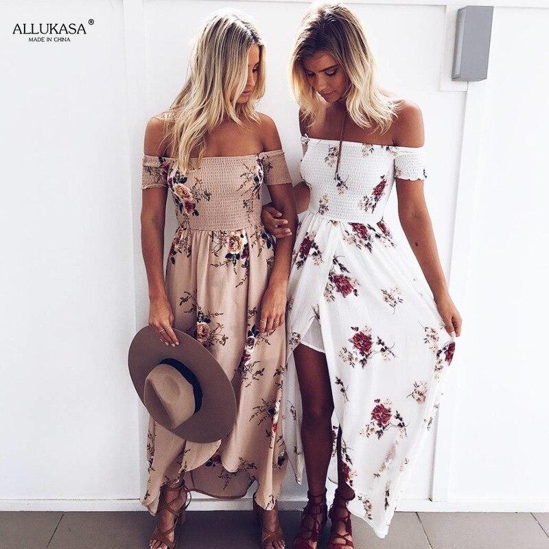 Allukasa 2020 Women Sexy Floral Dress Summer Split  Maxi Beach Sundress Off Backless Dress Boho Long Dresses Vestidos Femme