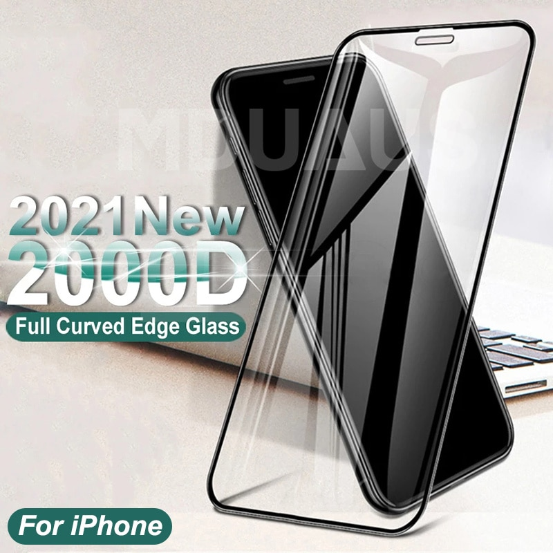 2000D Curved Protective Glass For iphone X XR XS 11 12 Pro Max Screen Protector Film iphone 6 6S 7 8