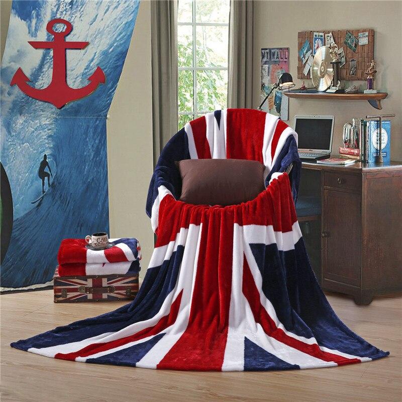 Angleterre et drapeau américain chaud paresseux couverture corail polaire flanelle climatisation couvertures pour lits couverture