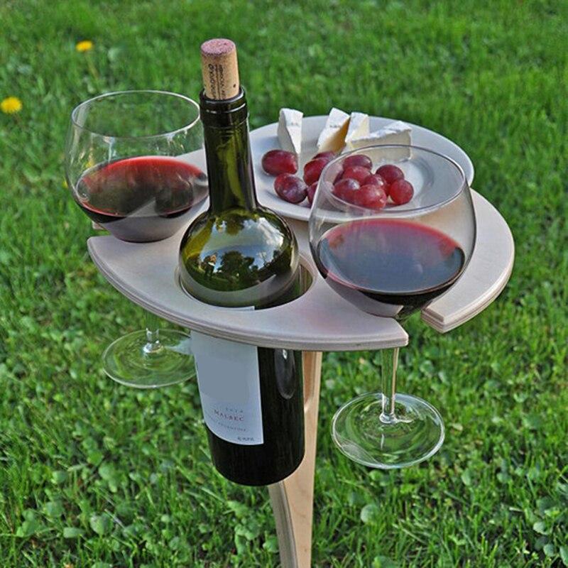 Mesa de vino portátil para exteriores, Mesa de madera para pícnic, Plegable,...