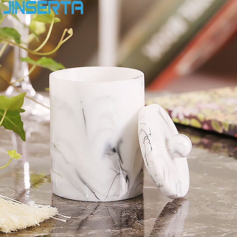 JINSERTA Marbled Resin Storage Box 2 Girds Cotton Swab Organizer  Toothpick Jar Luxury Home Living Room Hotel Decor Box with Lid
