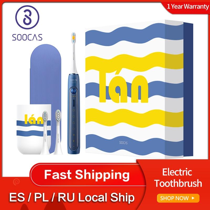 Soocas X5 Sonic cepillo de dientes eléctrico recargable por USB actualizado adulto IPX7 Ultra sonic brush12 modos de limpieza con cabezales de cepillo