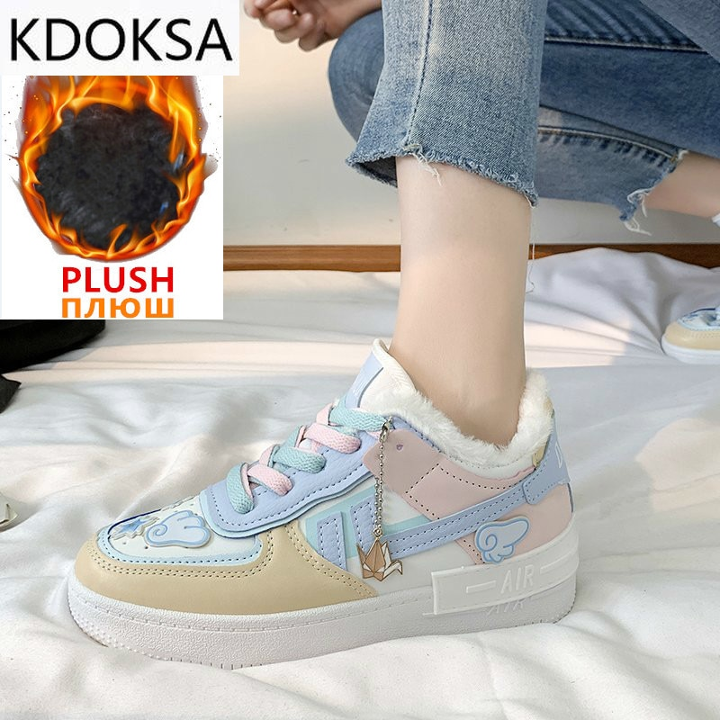2021 Women Sneakers White Pink Tennis Cute Lovely Girl Shoes Female Student Shoes Platform Flats Casual Ladies Vulcanize Shoes