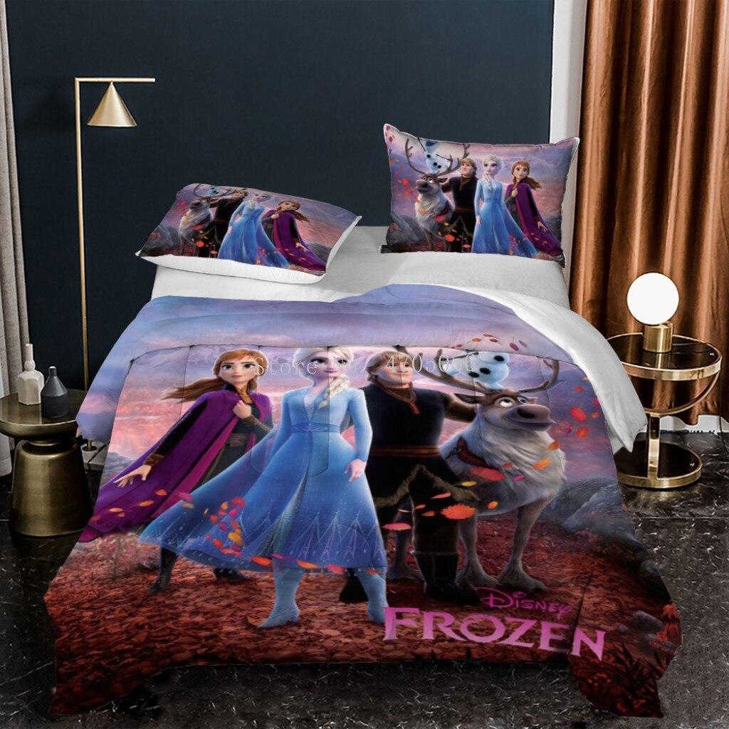 صبي فتاة ديزني المجمدة إلسا آنا الأميرة طقم سرير لحاف ناعم التوأم كامل الملكة حجم المخدة وشملت للأطفال أطفال