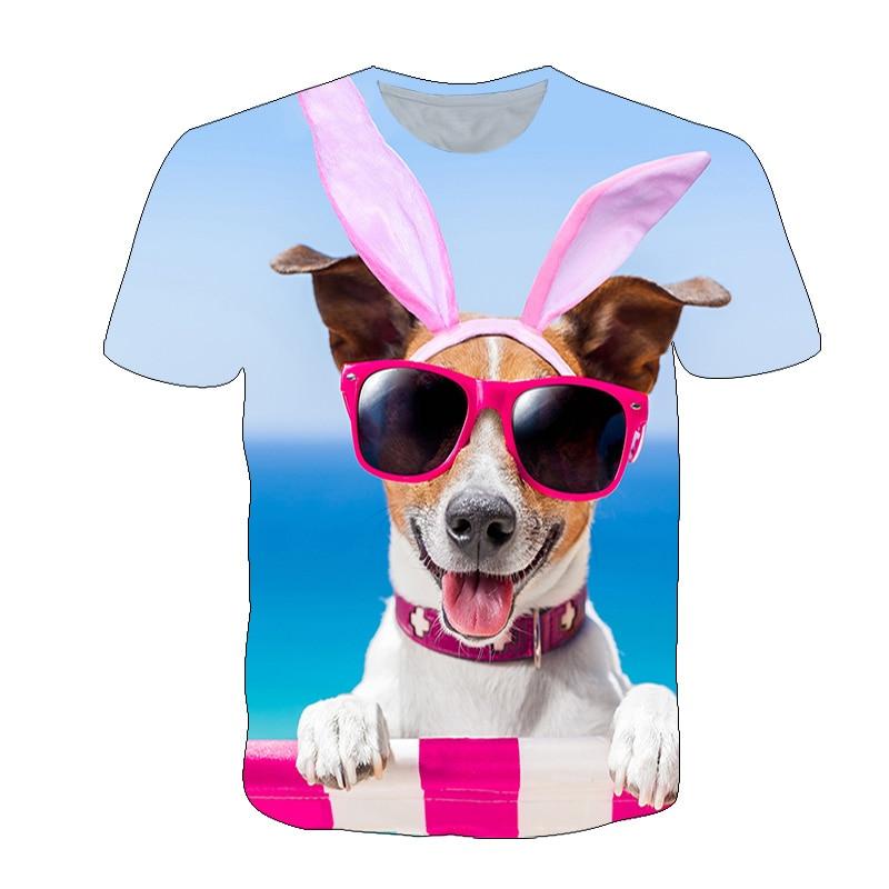 Beach Dog Animal 3D Printed T-shirt Kid Colorful t shirt Boys/Girls Cool Sunglasses Children Clothin