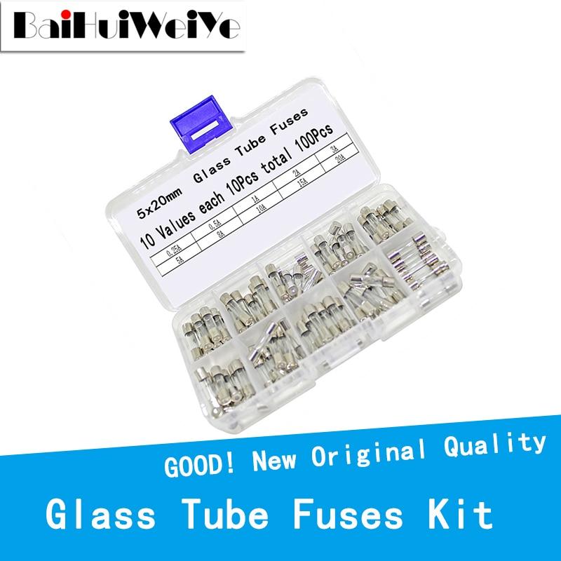 100pcs/box 5*20MM Fuses 3.15A Fast Quick Blow Glass Tube Fuse Kit 250V 3.15A 10Values*10pcs=100PCS