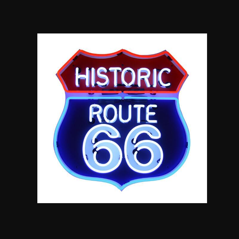 الطريق التاريخي المخصص 66 الزجاج ضوء النيون تسجيل البيرة بار