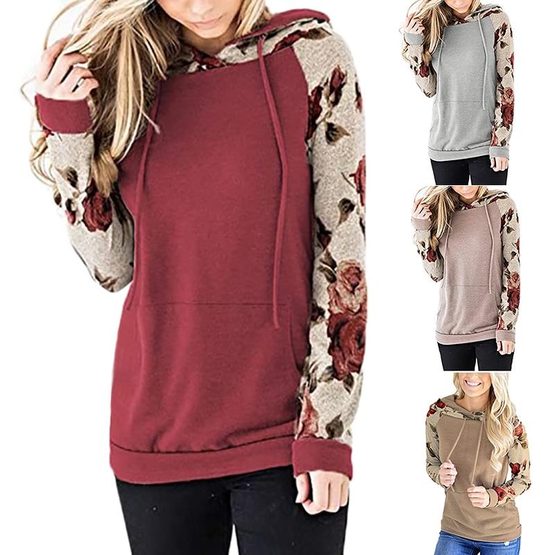 drawstring queen print hoodie Women Patchwork Hooded Sweatshirt Autumn Winter Leopard Print Harajuku Drawstring Hoodie Casual Long Sleeve Pullover Tops Female