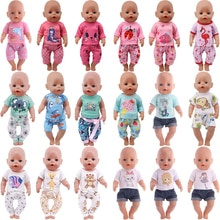 Cute Animal Pajamas Dress For 18 Inch American Doll Accessory Girl Toy 43 cm Baby New Born Clothes A