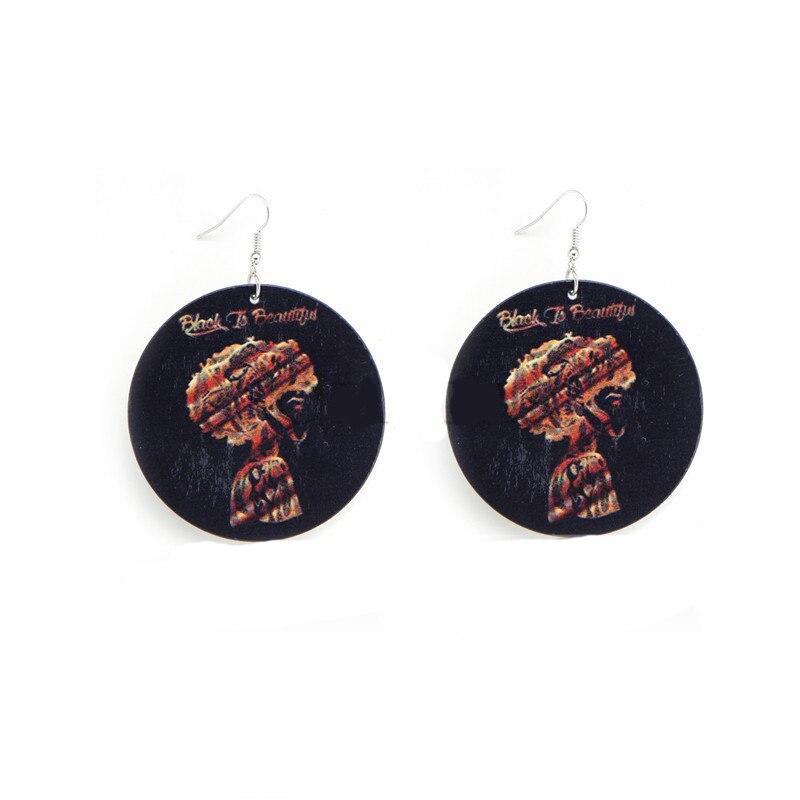 Earring Wood Africa Black Afro Queen Popular Demand Letters Hiphop Rock Pop Earrings Vintage African Jewelry Wooden DIY Party