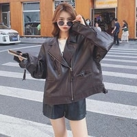 zipper jacket asymmetric zip leather jacket 2021womens motorcycl classic new style loose s autumn s women leather suede pu