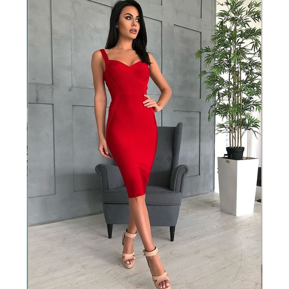 High Quality Sexy Women Bodycon V-neck Red Green Rayon Bandage Dress Homecoming Party Fashion Dress Vestidos
