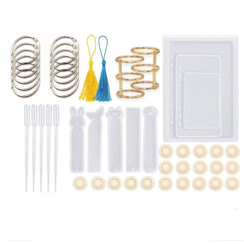 Moldes de resina de 49 Uds para cuaderno, moldes de resina de silicona con marcapáginas, moldes de resina para joyería DIY