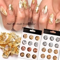 12 grid nail art gold and silver foil color foil paper set ladies trendy nail art ultra thin flake gold and silver foil paper