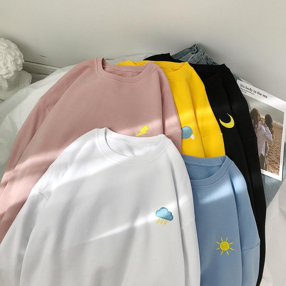 Женские свитшоты большого размера в стиле хип-хоп, женские пуловеры с винтажной вышивкой, толстовки, корейские Женские однотонные Модные св...