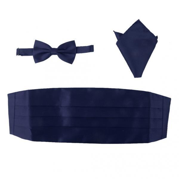 3pcs Men's Satin Bow Tie Cummerbund Hanky Handkerchief Deep Blue