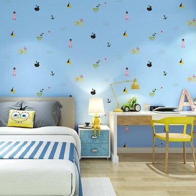Nordic householdazul dos desenhos animados vela quarto das crianças papel de parede menino menina crianças estilo mediterrâneo