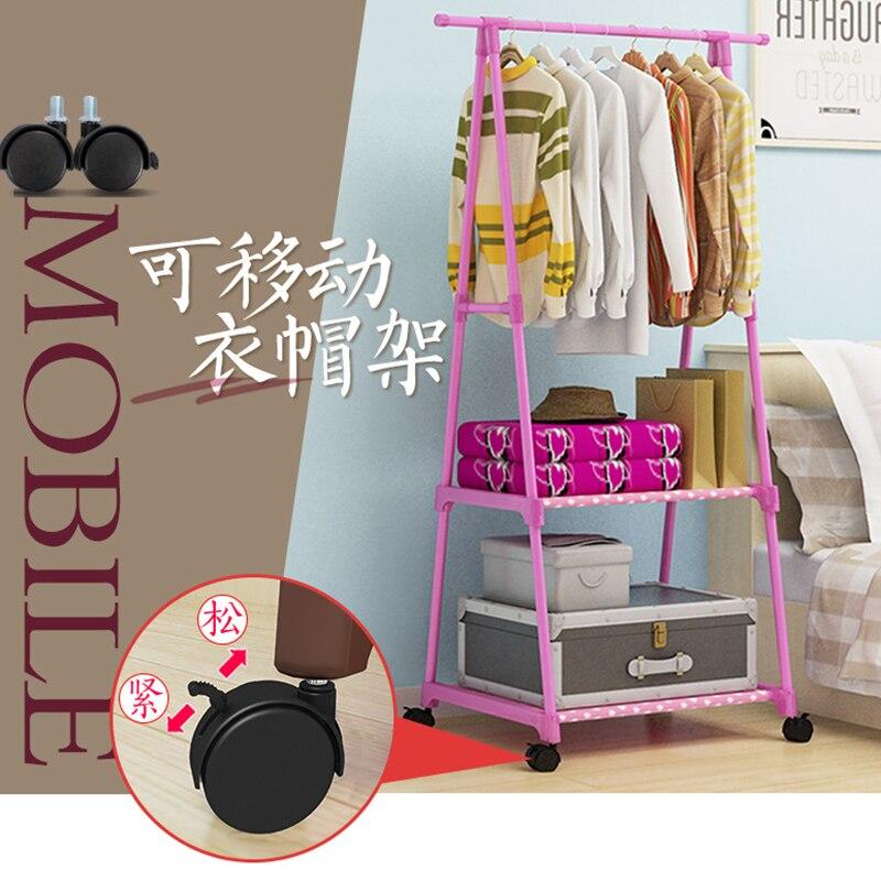 بسيطة متعددة الوظائف معطف رف الطابق الدائمة مثلث شماعات ملابس مع عجلات تخزين الرف ل الشماعات خزانة غرفة النوم