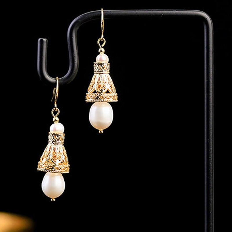 Retro Ethnic Hollow Bell Freshwater Pearl Earrings Female Earrings Indian Jhumka Earring Fashion Wedding Party Jewelry Gift New