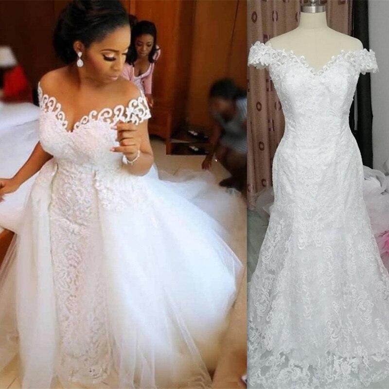 Increíble dos piezas Africana sirena vestidos de novia 2020 de 2 en 1 vestidos de novia con tren desmontable