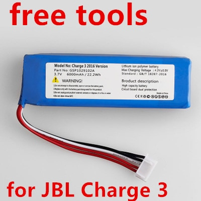 Novo 6000 mah gsp1029102a (CS-JML330SL) bateria para jbl carga 3 2016 versão