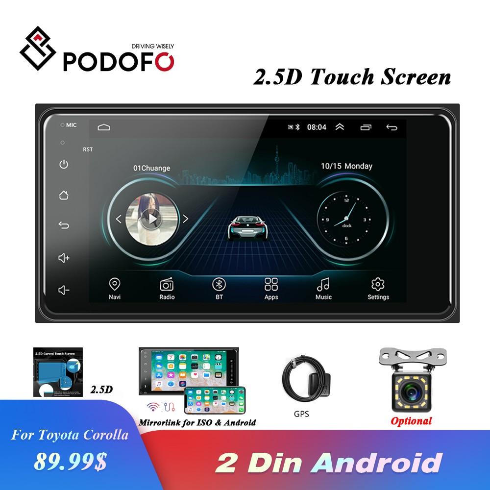 Podofo-راديو السيارة 2 Din مع مشغل فيديو ، MP5 ، GPS ، WIFI ، مستقبل ستيريو ، متوافق مع mirrorlink ، Android