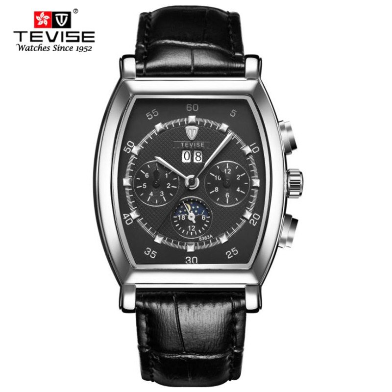 New Fashion Mechanical Watches Men Luxury Brand Classic Automatic 6 Pin Calendar Rectangular Dial Le