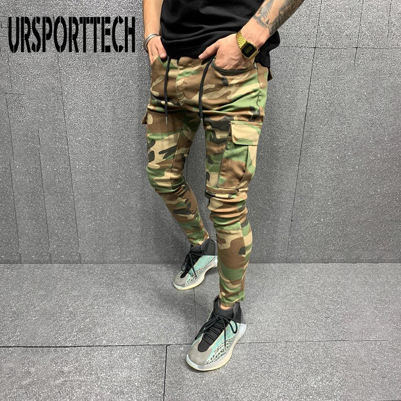 Брюки-карго, эластичные Мужские штаны для бега, уличная одежда в стиле хип-хоп, камуфляжные штаны, повседневные обтягивающие спортивные шта...