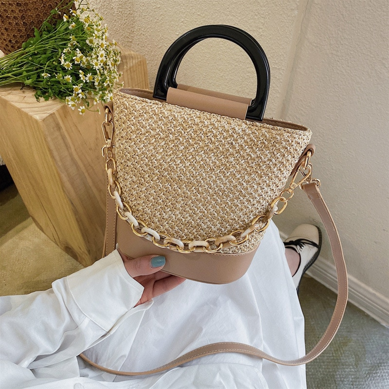 Borse Da Donna 2021 New Summer Small Chain Handbag Trendy Ladies Messenger Bag Retro Bucket Bag Straw Woven Beige Shoulder Bag