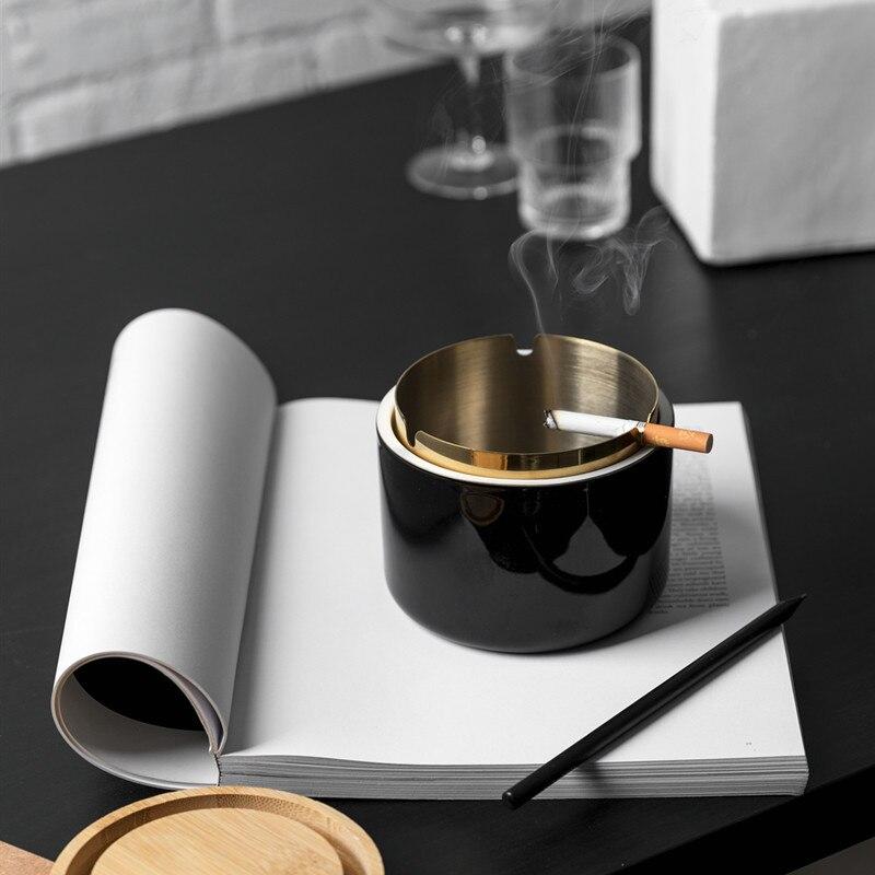 Ceniceros de porcelana para el hogar Cenicero de cerámica de lujo con tapa de madera Cenicero portátil para el hogar Cenicero de bolsillo al aire libre
