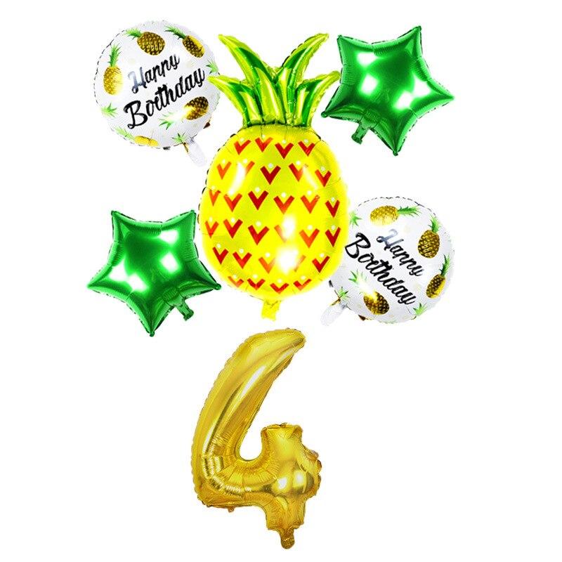 32 Golden Digital Hawaiian Party Aluminum Film Balloon Set Fruit Pineapple Summer Party Birthday Decoration Balloons  - buy with discount