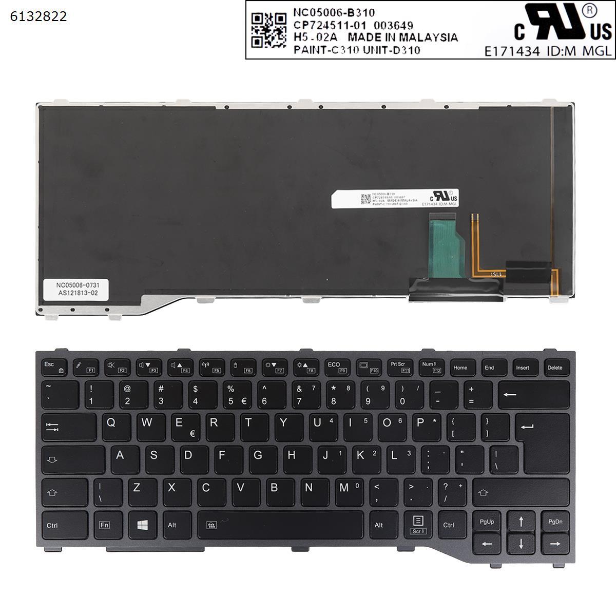 لوحة مفاتيح جديدة US UI-International لفوجيتسو سيمنز Lifebook T937 T938/مع إطار بإضاءة خلفية مفتاح إدخال كبير