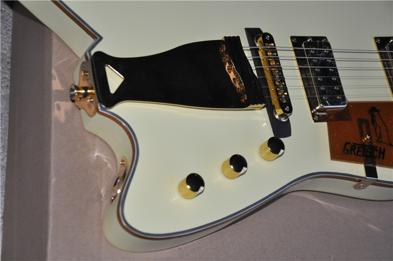 Free shipping, high quality customized version of Billy-Bo signature shaped electric guitar yellow and gold accessories enlarge