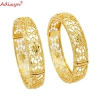 adixyn 2pcslots ethiopian bangle for women gold color hand bracelet african dubai wedding party gifts n10268