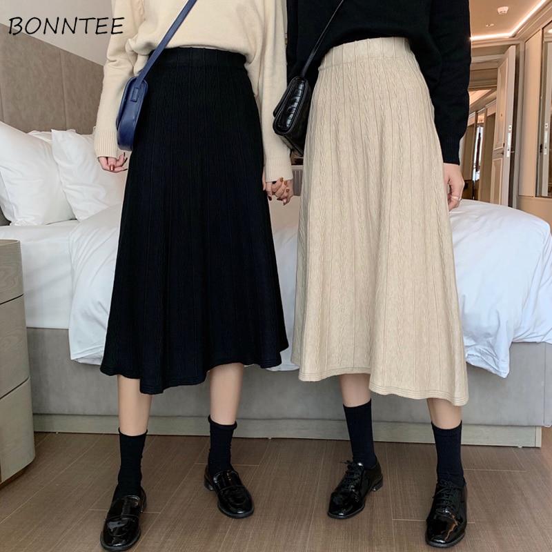Saias mulheres tricô sólido meados de moda feminina harajuku vintage francês primavera novo elegante cintura alta all-match simples chique diário
