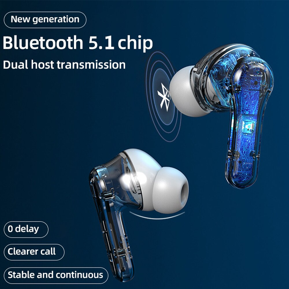 Earphones HIFI Stereo Noise Reduction Wireless 5.0 Bluetooth Headphones with LED Display Earbuds for Gaming Sports enlarge