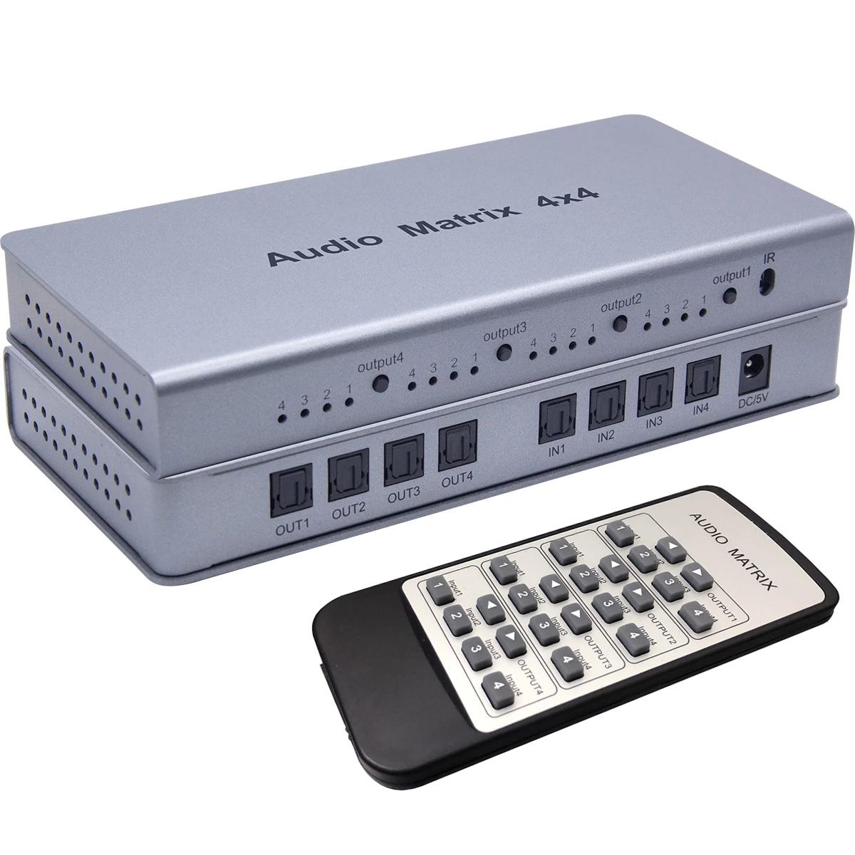 4x4 مصفوفة الصوت التبديل الجلاد الخائن SPDIF /TOSLINK الرقمية البصرية محول صوت 4x4 صحيح مصفوفة محدد 4 في إلى 4 خارج