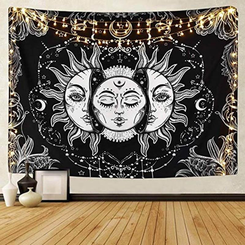 Mandala Tapestry White Black Sun and Moon Tapestry Wall Hanging Gossip Tapestries Hippie Wall Rugs Bedroom Dorm Decor Blanket 1ps bohemia mandala blankets tapestry elephant wall hanging wandbehang gobelin blanket dorm home decor mantas mandalas