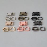 50sets 15mm 20mm 25mm metal d ring belt buckle adjuster straps loop hardware for bag outdoor dog pet collar paracord clasp hook
