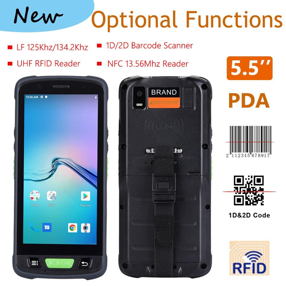 شحن مجاني ماسح الباركود OEM 4G LTE يده محطة أندرويد 9.0 المساعد الشخصي الرقمي مع ماسح الباركود تتفاعل LF UHF NFC هاتف ذكي المساعد الشخصي الرقمي
