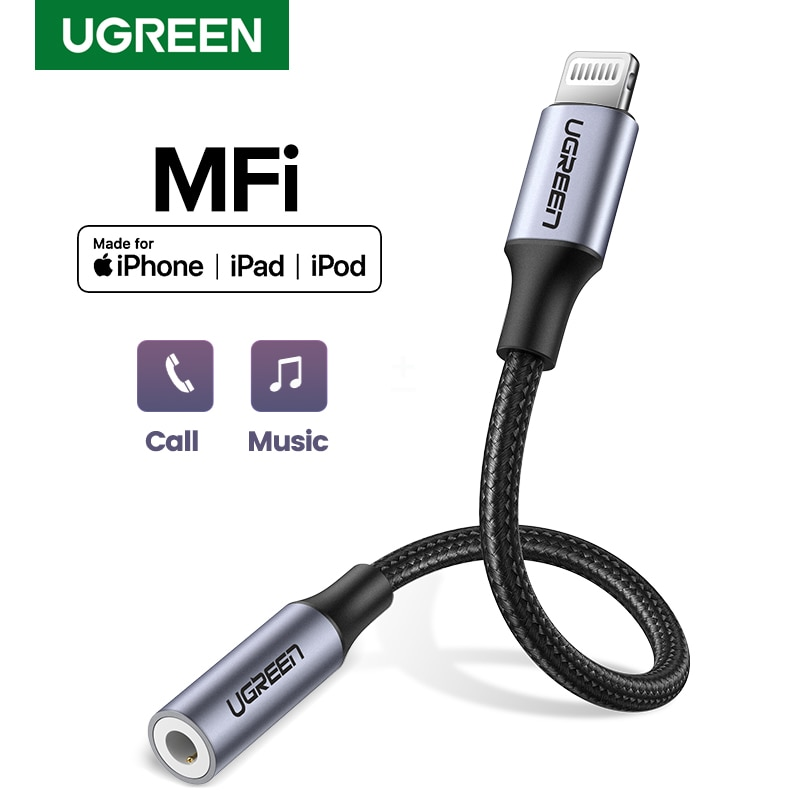Ugreen MFi Lightning to 3.5mm Headphones Adapter for iPhone 12 11 Pro 8 7 Aux 3.5mm Jack Cable for L