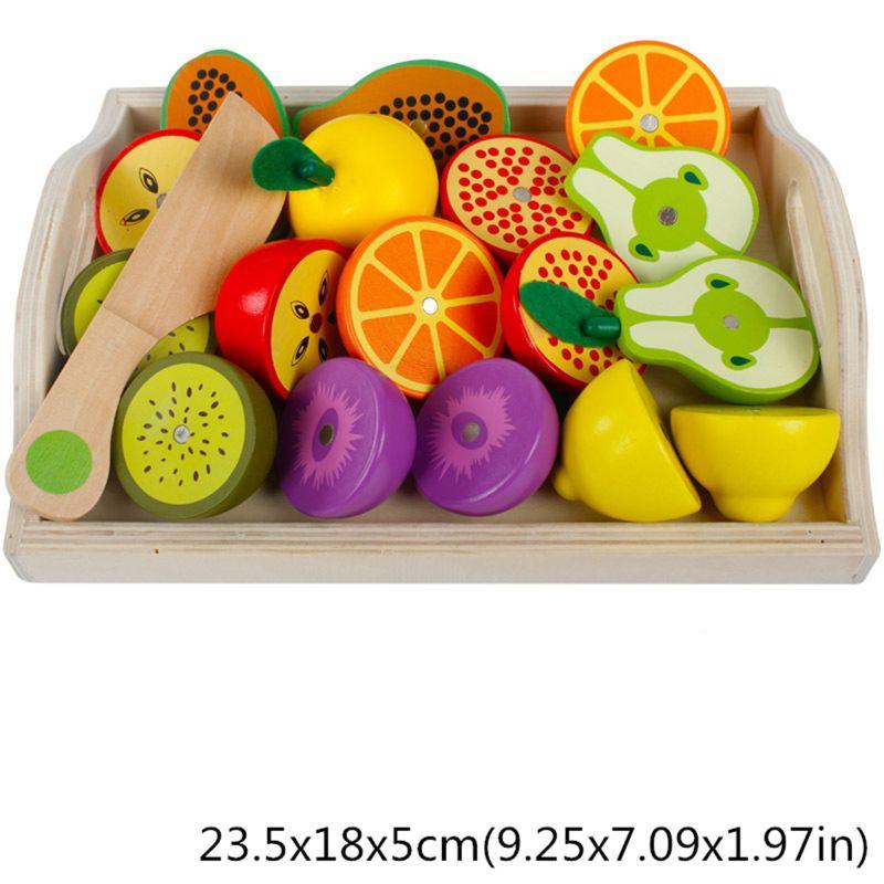 Juego Clásico de madera simulación cocina serie juguetes cortar frutas conjunto de vegetales juguetes Montessori educación temprana regalos R7RB