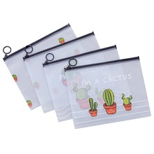 Transparent Pencil Case Cactus Office Student Pencil Cases School Supplies Pen Box Stationery Holder