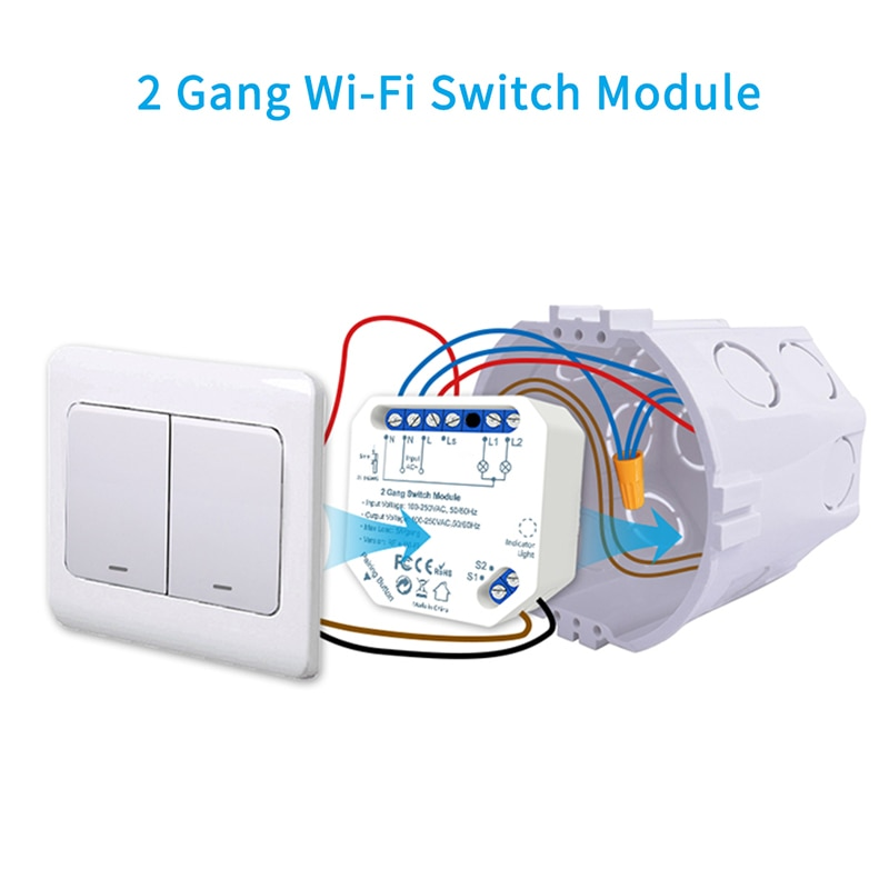 Tuya Smart Life Wifi Switch 2 Gang Relay Breaker Module Smart Lighting Google Home Alexa Echo Remote
