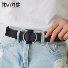 PKWYKLRE ladies belt genuine quality ladies fashion latest needle-free metal round buckle belt wild